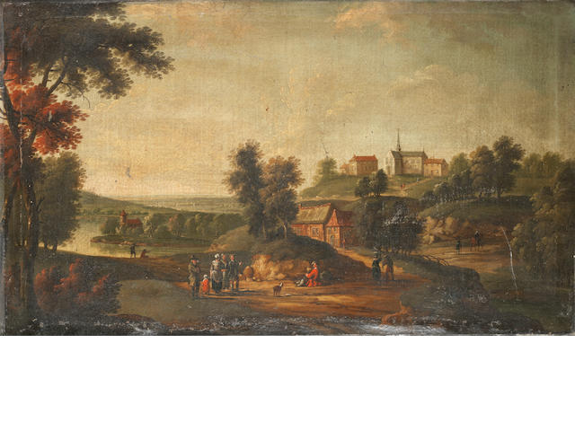 Flemish School, 18th Century Travellers on a country path, a village in the distance