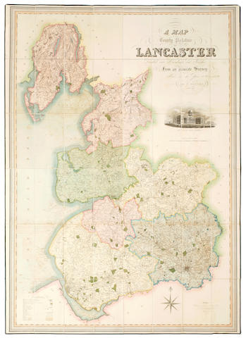 LANCASTER HENNET (G.) A Map of the County Palatine of Lancaster divided into Hundreds and Parishes from an accurate Survey made in the years 1828 and 1829