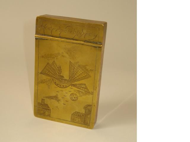 A 19thC 'Modern Prophecy' Flying Machine brass tobacco box,