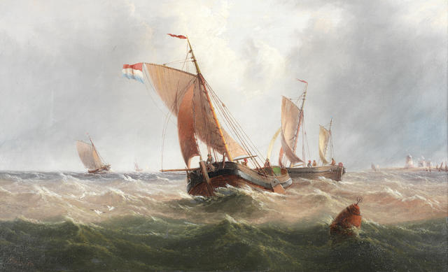 Henry Redmore (British, 1820-1887) Dutch pincks off the coastline