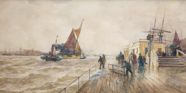 Thomas Bush Hardy (British, 1842-1897) 'Thames Tunnel Pier'
