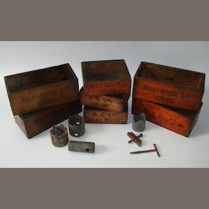 Six Rolls-Royce Ltd wooden toolboxes,
