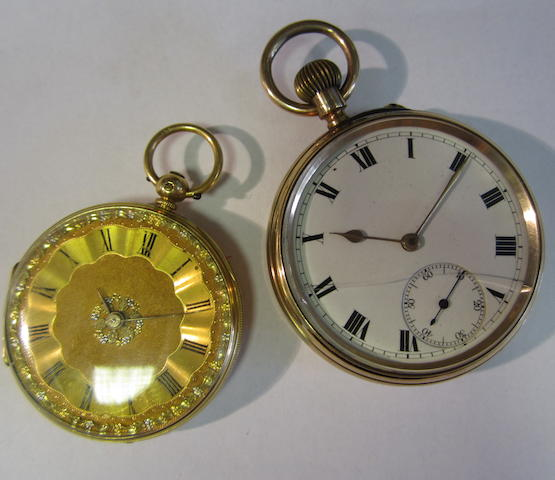 A lot of two open face pocket watches