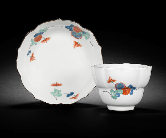 A Meissen lobed beaker and saucer from the Japanese Palace, circa 1735