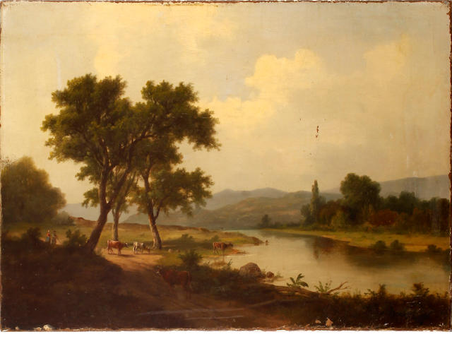 Dutch School, 19th Century Cows grazing by an open river landscape unframed