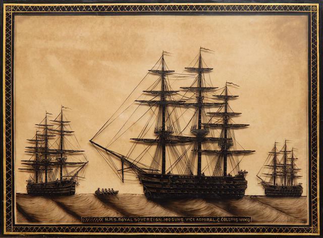 A reverse glass portrait of HMS Royal Sovereign 12x16ins. (30x41cm)