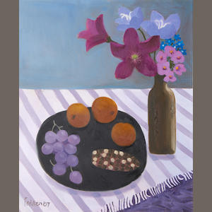 Mary Fedden R.A. (British, 1915-2012) Still life with black tray and bunch of grapes