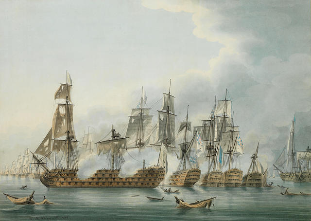 Thomas Buttersworth (British, 1768-1828) The Battle of Trafalgar