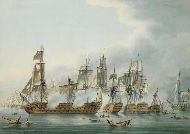 Thomas Buttersworth (British, 1768-1828) The Battle of Trafalgar