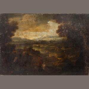 Spanish School, (?), 18th Century Shepherds in an extensive landscape (unframed)