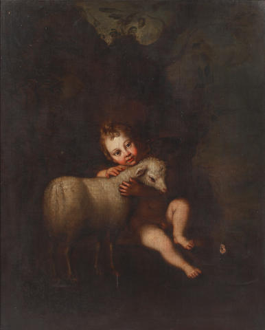 Manner of Bartolomé Esteban Murillo, 18th Century Christ child with lamb in a carved English frame.