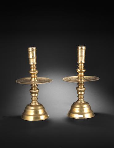 A pair of Ottoman brass Candlesticks Egypt, 19th Century(2)