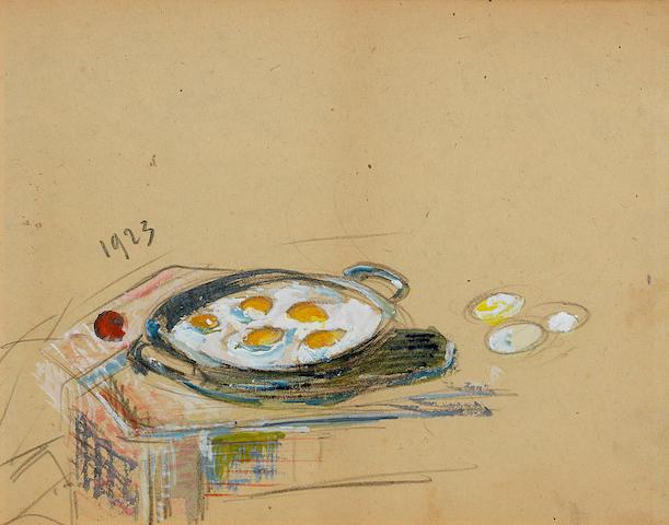 Gustave Loiseau (French, 1865-1935) Les oeufs au plat (recto); Coin de la Ruelle Pontoise (verso)