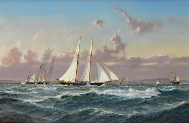 Robert Moore (British, born 1945) Competitors for the first America's Cup showing their mettle in the Solent prior to the main event, 1851