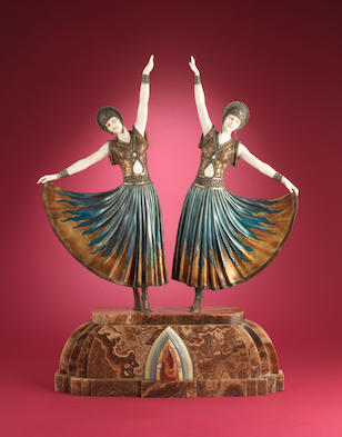 Demetre Chiparus 'The Dolly Sisters' a large bronze and ivory group