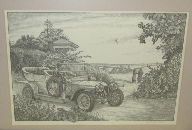 Three Rolls-Royce and Bentley prints,