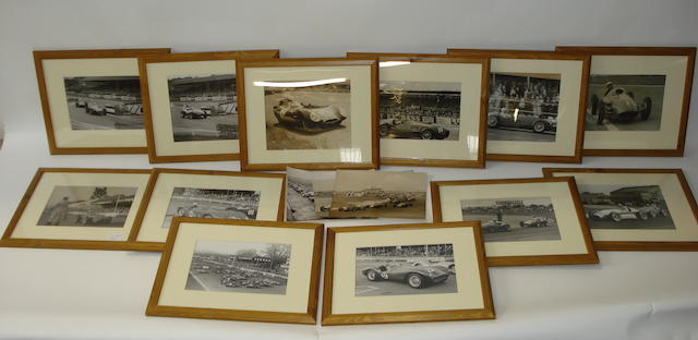 Twelve framed monochrome racing images,