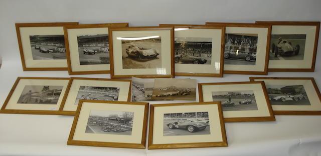 Twelve framed monochrome racing images,