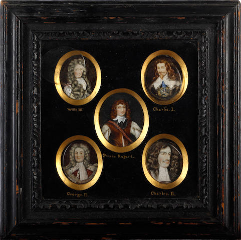 English School, Late 19th Century A frame of five miniatures of members of the English monarchy: William III (1650-1702), wearing powdered long curled wig, white cravat, pale yellow coat with button detailing, ermine-trimmed cloak with red ribbons; Charles I (1600-1649), wearing black doublet with vandyke white lace collar, blue neckcloth, Great George, pearl drop earring, his curled brown hair worn long; Prince Rupert (1619-1682), wearing white linen shirt with paned sleeves, brown jerkin, gorget worn beneath white lace collar, his curling brown hair worn long; George II (1683-1760), wearing collar over red coat, ermine-trimmed cloak, lace jabot and long powdered wig; Charles II (1630-1685), wearing red coat, lace collar, long brown curled natural wig