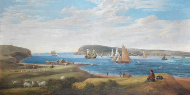Irish School, 19th Century A view of Cork Harbour looking in from the sea towards Queenstown, with a diversity of commercial sail, including two brigs and two large cutters, plying their trade on the open water, and a shepherd tending his flock on the near shore