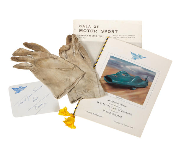 A pair of Donald Campbell's signed driving gloves