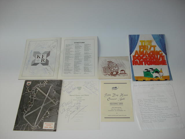 Assorted BRDC, BARC and The Doghouse Owners Club signed ephemera,