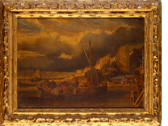 French School early 19th Century, Fisherman returning to shore, oil on canvas