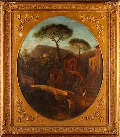 Italian School, 19th Century Grotto and village scenes