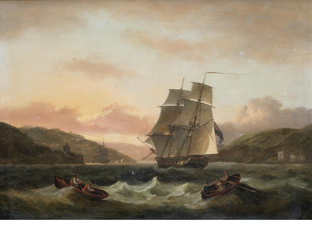 Thomas Luny (British, 1759-1837) Two master entering Dartmouth Harbour