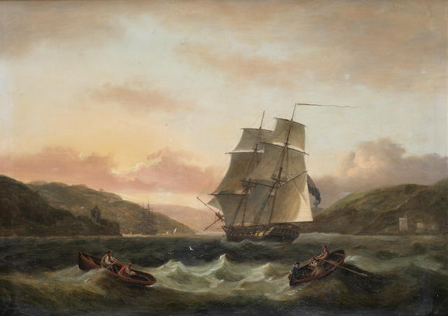 Thomas Luny (British, 1759-1837) Two master entering Dartmouth Harbour