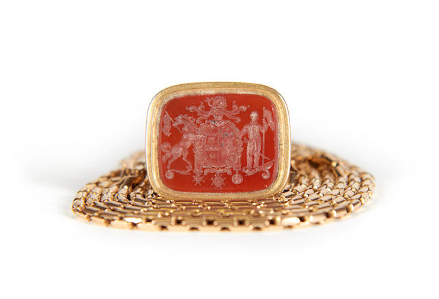 A large Gold mounted agate seal and chain, Admiral Durham (1763-1845)