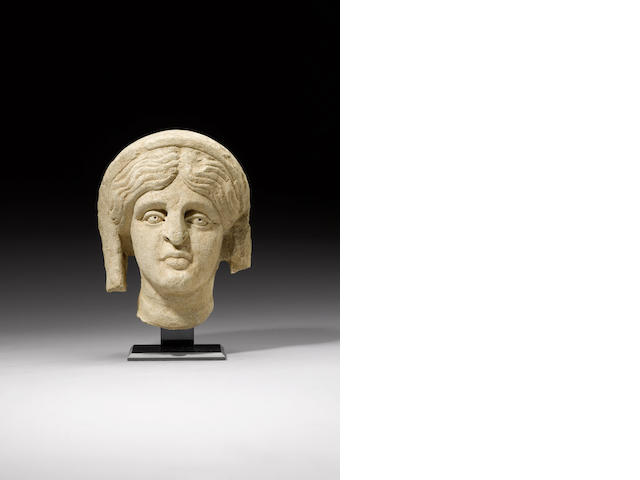 An Eastern Roman limestone female head