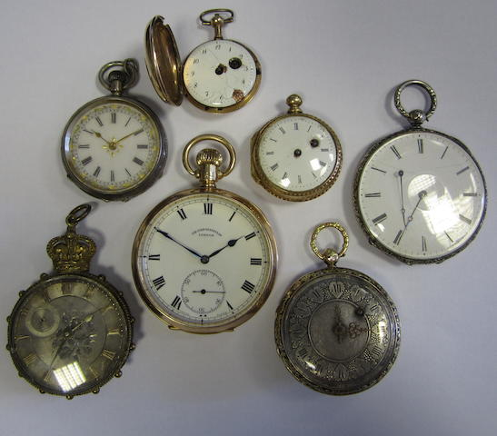 A lot of seven various pocket watches