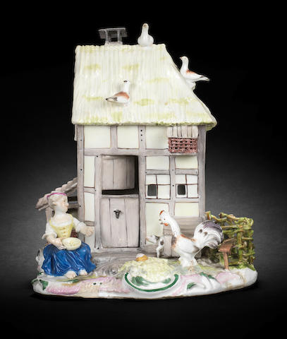 A rare Meissen model of a farmhouse, circa 1750
