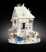 A rare Meissen model of a farmhouse, circa 1750-55