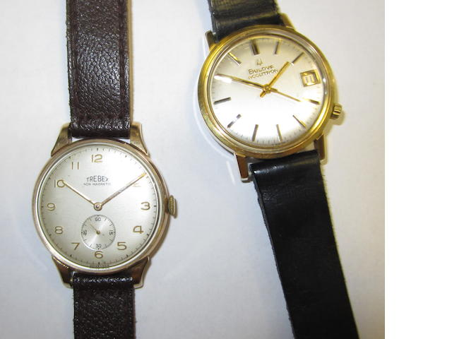 Bulova. A gold plated quartz wristwatch together with a Trebex wristwatch