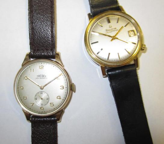 Bulova. A gold plated quartz wristwatch together with a Trebex wristwatch