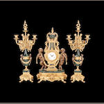 A Louis XVI style gilt metal and marble figural clock garniture of recent manufacture