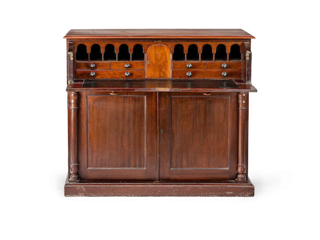An Australian cedar secretaire chest Circa 1845