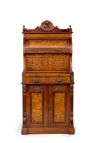 An Australian cedar and musk?? collectors secretaire cabinet Circa 1880