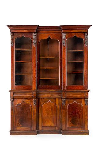 An Australian cedar inverted breakfront bookcase Circa 1860