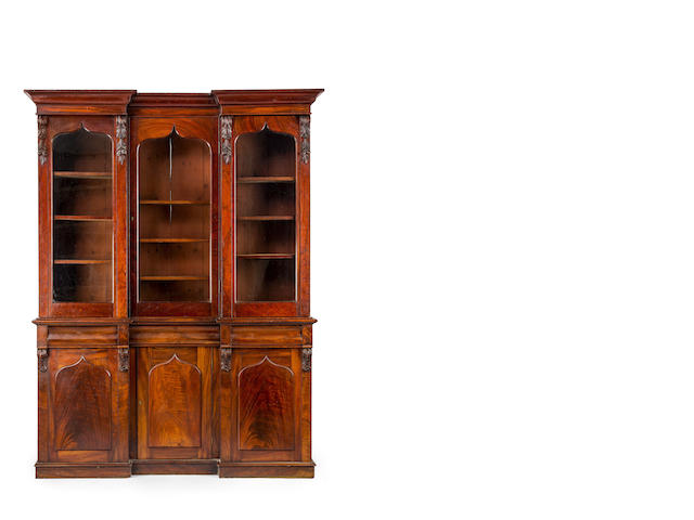 An Australian cedar inverted breakfront bookcase Circa 1860