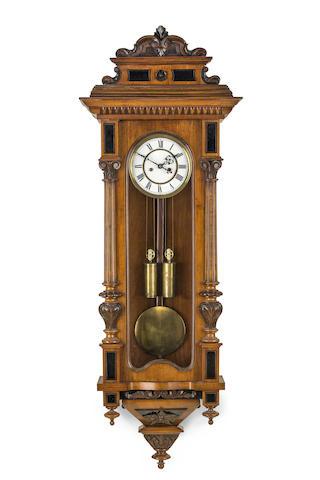 A late 19th century Vienna style walnut regulator
