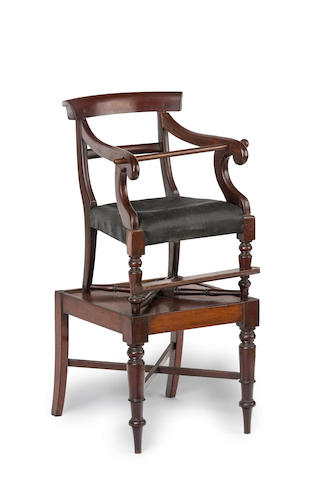 An Australian cedar child's high chair with original stand/table Circa 1845