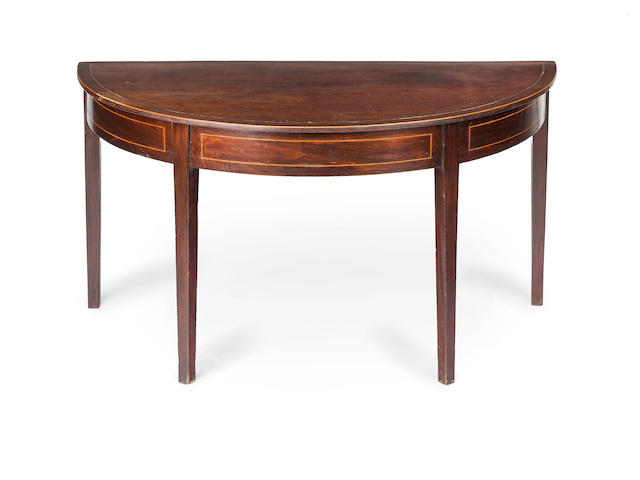 An Australian ceder and pine strung demi-lune table Circa 1825