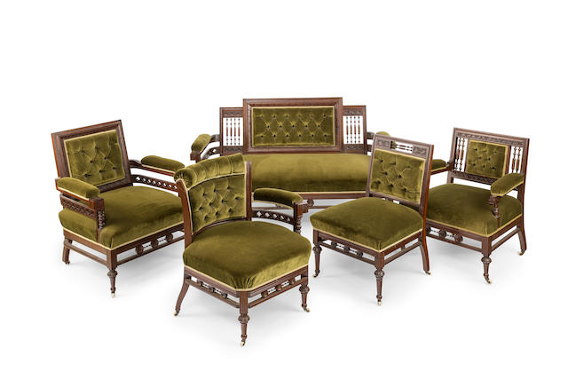 An Australian blackwood and cedar upholstered five piece salon suite Circa 1885