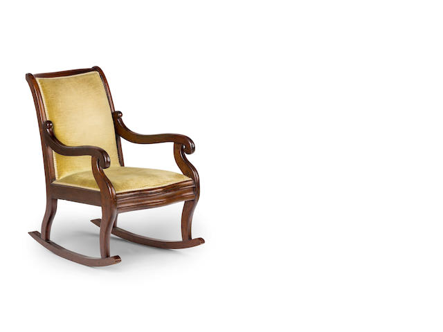An Australian  cedar and upholstered  rocking chair Circa 1835