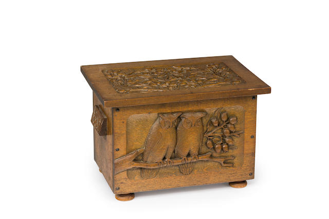 An Australian Arts & Crafts carved oak box