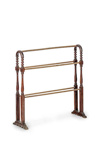 A late 19th century Australian cedar and eucalypt towel rail