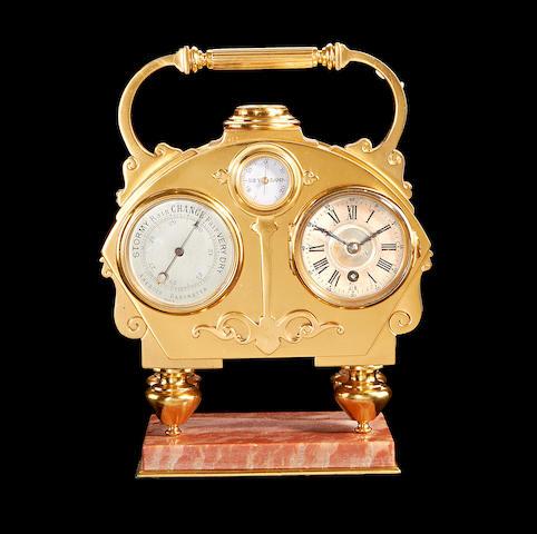 A late 19th century gilt brass desk compendium
